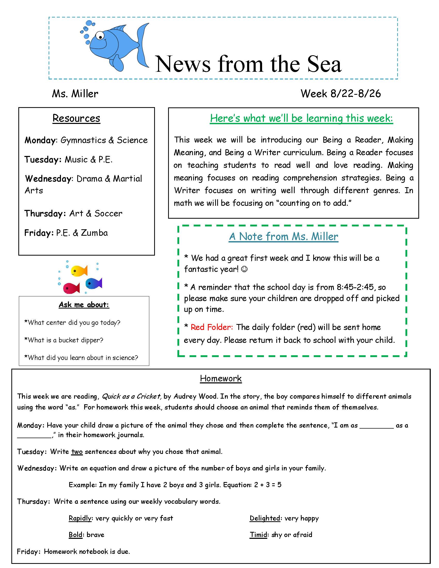 ms miller newsletter island prep