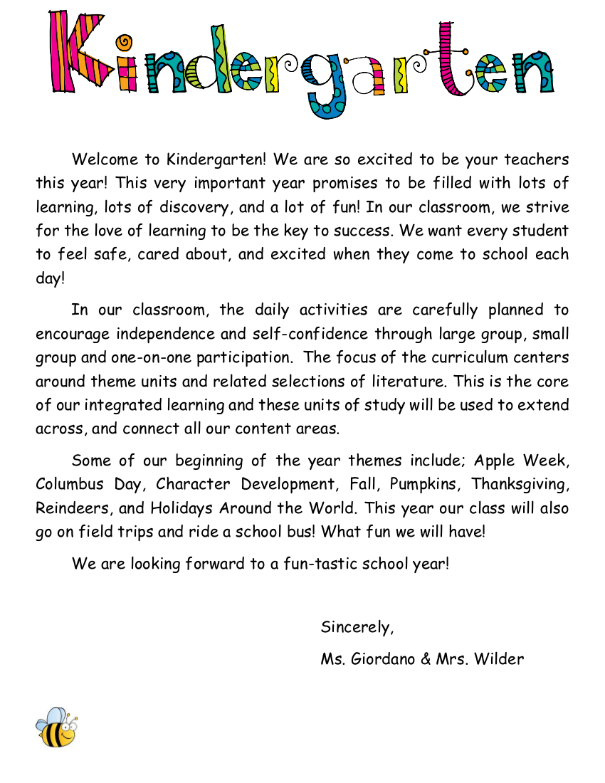 Welcome Letter To Parents Kindergarten